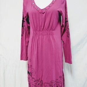 Ariat Midi Dress Size M Fuschia V-NECK